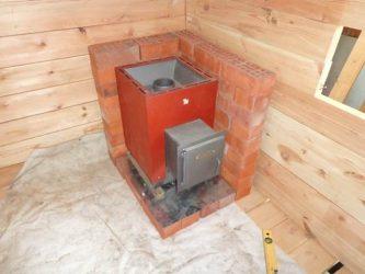 Защита деревянной стены от печи в бане