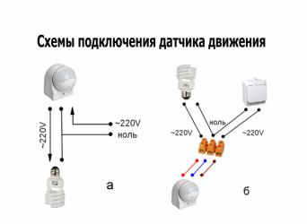 Как подсоединить датчик движения к светодиодной лампе?